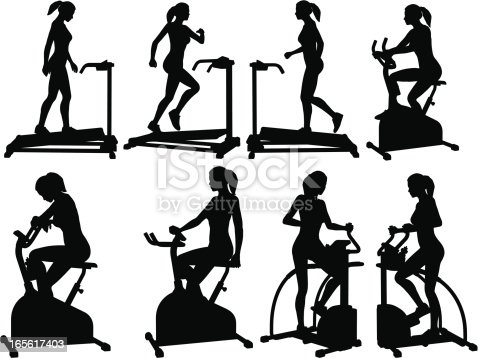 Female Fitness Silhouettes stock vector art 165617403 | iStock