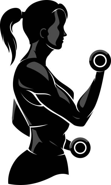 Female Fitness vector art illustration