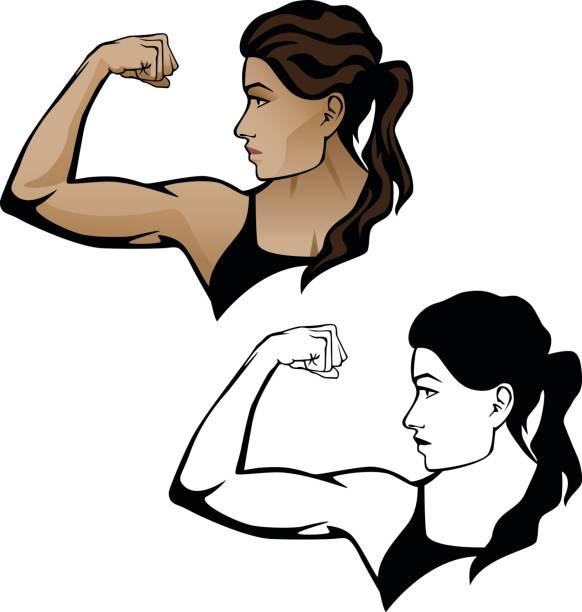 Female Fitness Woman Flexing Arm Illustration vector art illustration