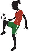 Female football player silhouette