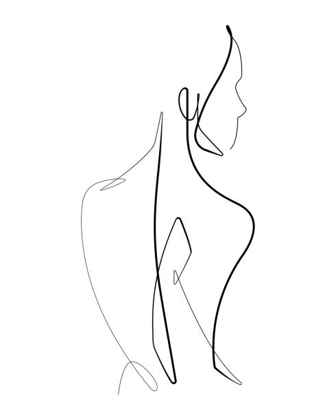 Female Form Continuous Vector line Graphic Check out this female form vector graphic drawn with a single continuous line. sensuality stock illustrations