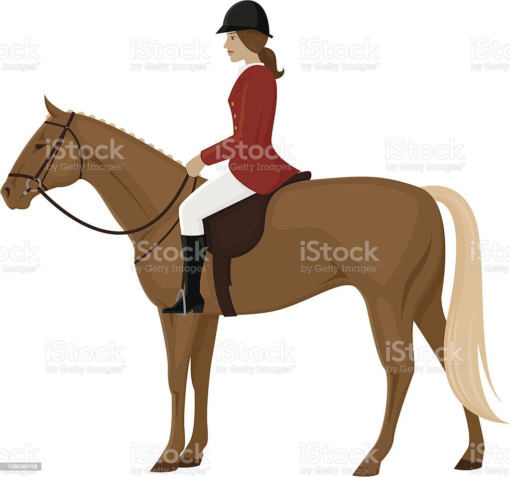 Female Fox Hunter on a Horse vector art illustration