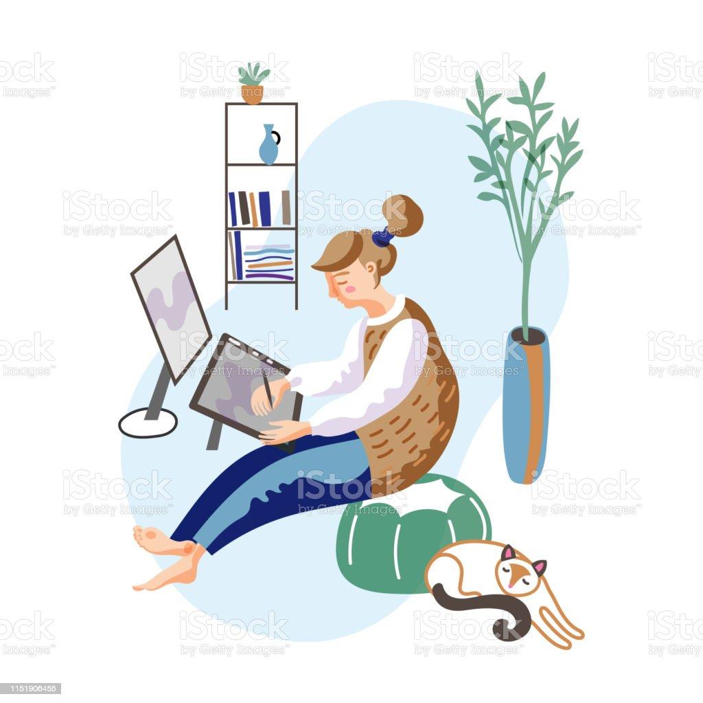 Female Freelancer Flat Vector Illustration Stock