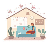 Vector illustration of woman sitting on couch near cat and doing remote project on laptop against wall with calendar in home office during coronavirus pandemic