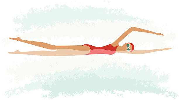 Female freestyle swimming vector art illustration