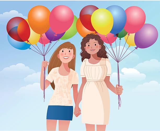 illustrazioni stock, clip art, cartoni animati e icone di tendenza di femmina amico holding mani e fiori - two students together asian