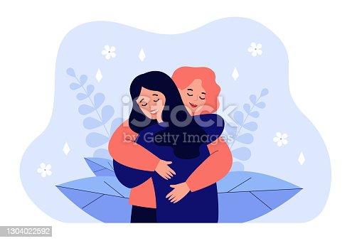 istock Female friend hug 1304022592