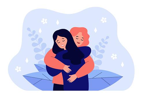 Female friend hug