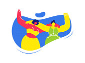 Female Friends Hugging Flat Vector Illustration. Women Support, Friendship. Lady Raising Fist Faceless Character. Girl Power, Togetherness. Sisters, Girlfriends Wearing Summer Clothes