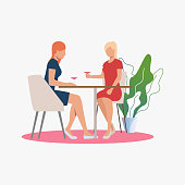 Female friends meeting in cafe. Recreation, friendship, leisure concept. Vector illustration can be used for topics like lifestyle, tourism, holiday