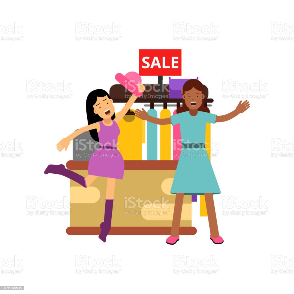 female friends shopping at the clothing store fighting over clothes