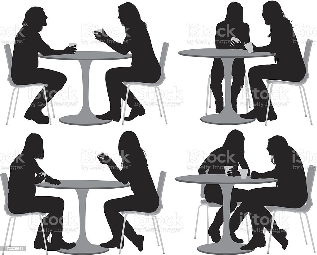 Female Friends Sitting At Coffee Table Stock Vector Art  for People Sitting At Table Png  193tgx