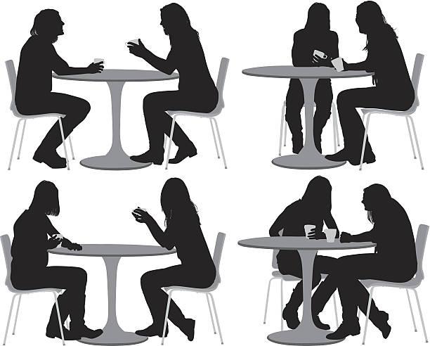 ilustrações de stock, clip art, desenhos animados e ícones de amigos do sexo feminino sentado na mesa de café - coffee table