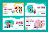 Female Friendship Trendy Design for Landing Page Set. Everyday Selfie, Daily Shopping. Cartoon Fashion Girls Characters Relaxing Supporting Friends. Communication and Recreation. Vector Illustration