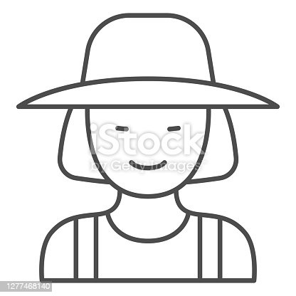 istock Female gardener thin line icon, Garden and gardening concept, Gardener woman sign on white background, female farmer in hat icon in outline style for mobile concept, web design. Vector graphics. 1277468140
