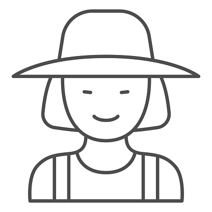 Female gardener thin line icon, Garden and gardening concept, Gardener woman sign on white background, female farmer in hat icon in outline style for mobile concept, web design. Vector graphics.