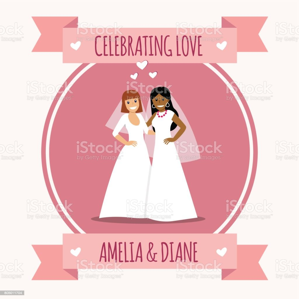 Female gay couple in white wedding dresse vector art illustration