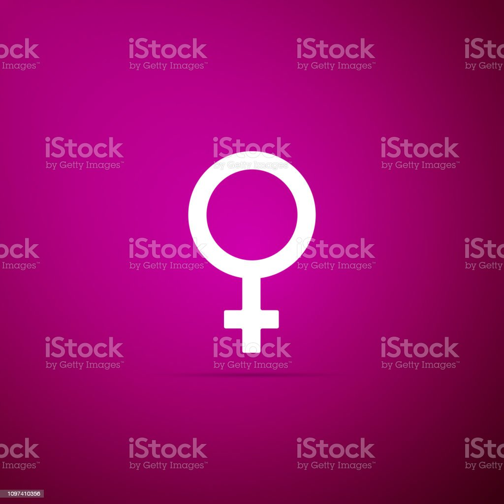 Female gender symbol icon isolated on purple background. Venus...