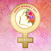 Celebrate the International Women's Day with woman's head inside the gold colored female gender symbol on the flowers background