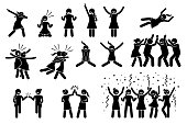 Artwork shows girl celebrating by dabbing, raising hands, jumping up, hug, chest bump, high five, throwing person the air and group celebration.