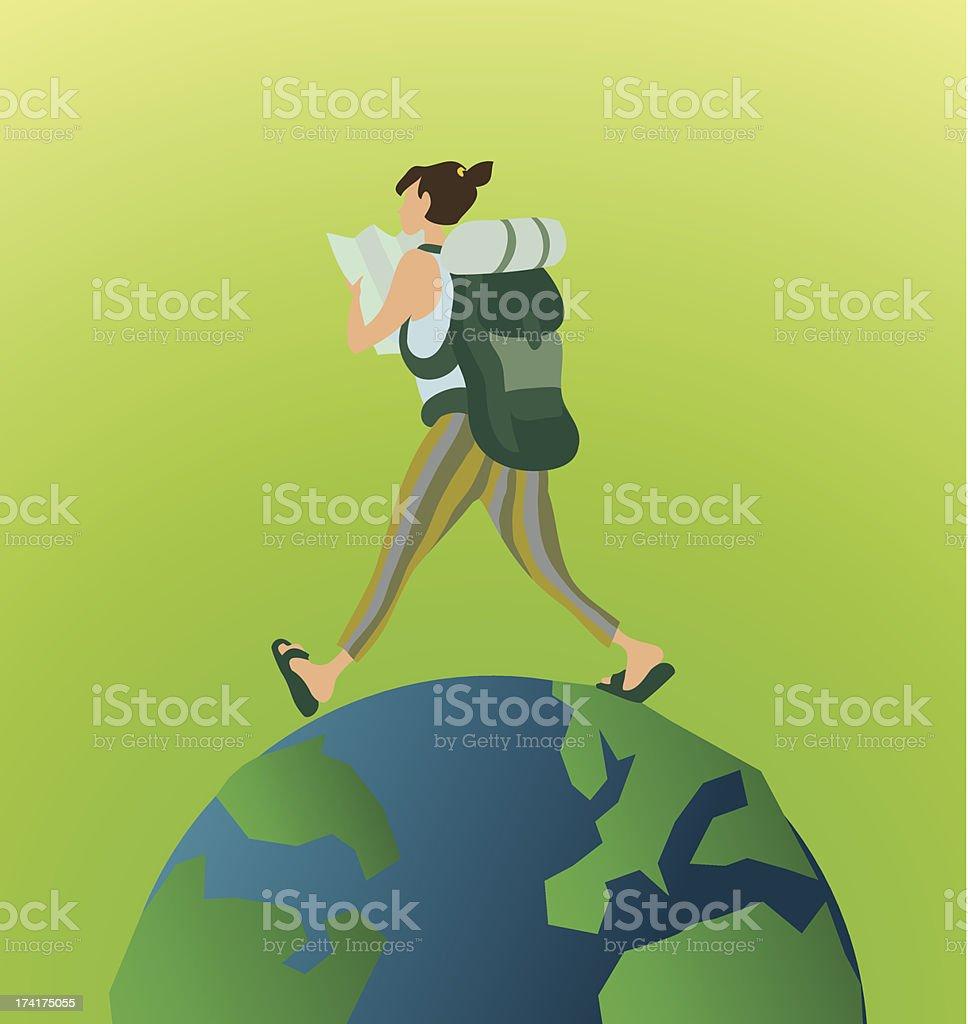 Female Globetrotter girl travels the world vector art illustration