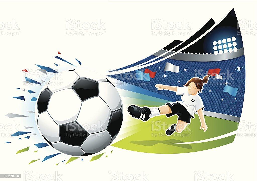 Feminino objetivo goleador - ilustração de arte em vetor
