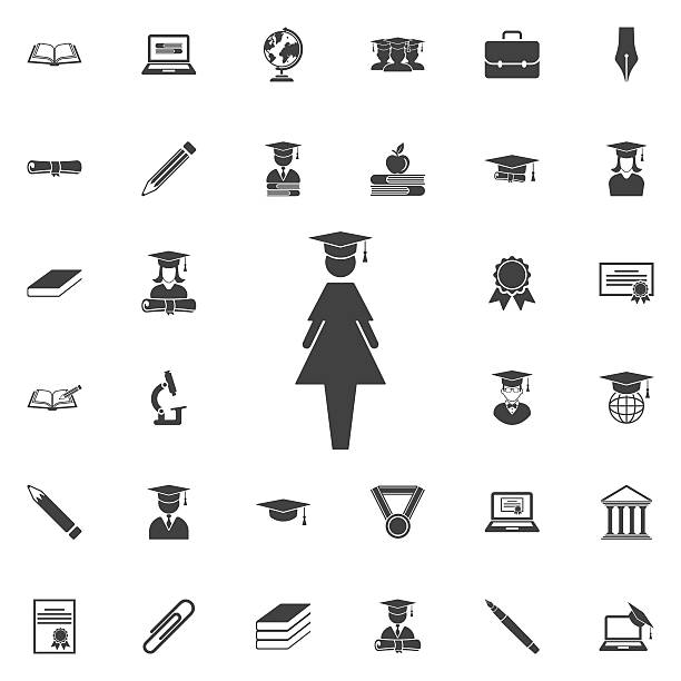 Female Graduate icon vector art illustration