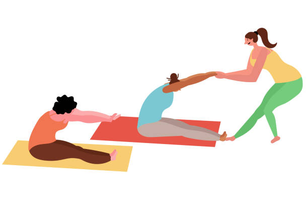 Female group yoga classes with an instructor vector art illustration