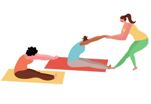 ilustrações, clipart, desenhos animados e ícones de classes fêmeas da ioga do grupo com um instrutor - personal trainer