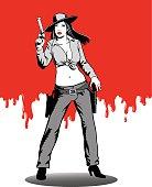 Female Gunslinger on Red Background