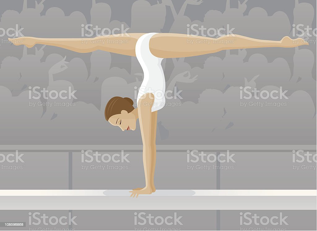 Female Gymnast on Balance Beam royalty-free stock vector art