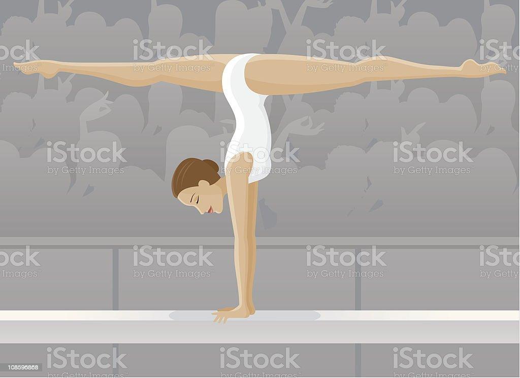 Female Gymnast on Balance Beam vector art illustration