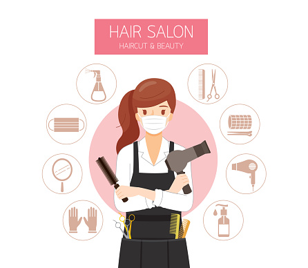 Female Hairdresser Wearing Surgical Mask With Hair Salon Equipments Icons
