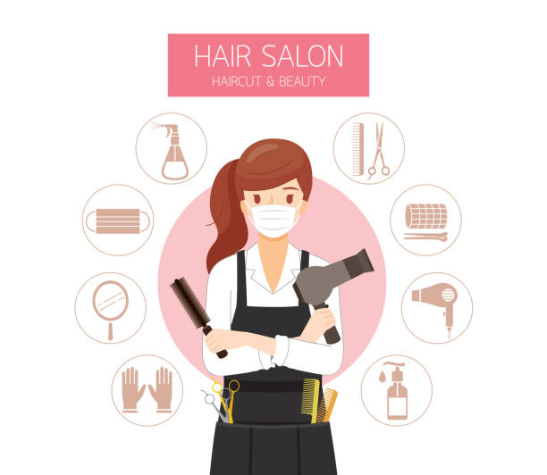 female hairdresser wearing surgical mask with hair salon equipments icons - hairdresser stock illustrations