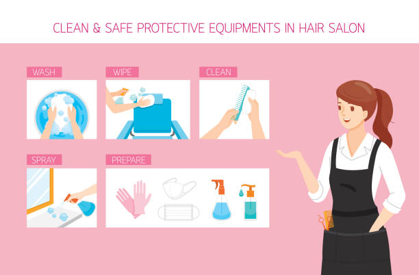 美容室での清掃、洗濯、拭き取り、準備、安全な機器を備えた女性美容師 - 美容室点のイラスト素材/クリップアート素材/マンガ素材/アイコン素材