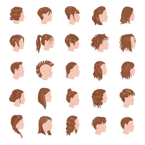weibliche frisuren-farbe-vektor-icons - brotzopf stock-grafiken, -clipart, -cartoons und -symbole