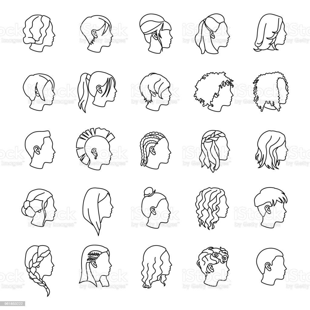 Weibliche Frisuren Umrisse Vektoricons Stock Vektor Art und mehr Bilder von  Afro-Frisur