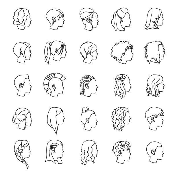 weibliche frisuren umrisse vektor-icons - brotzopf stock-grafiken, -clipart, -cartoons und -symbole