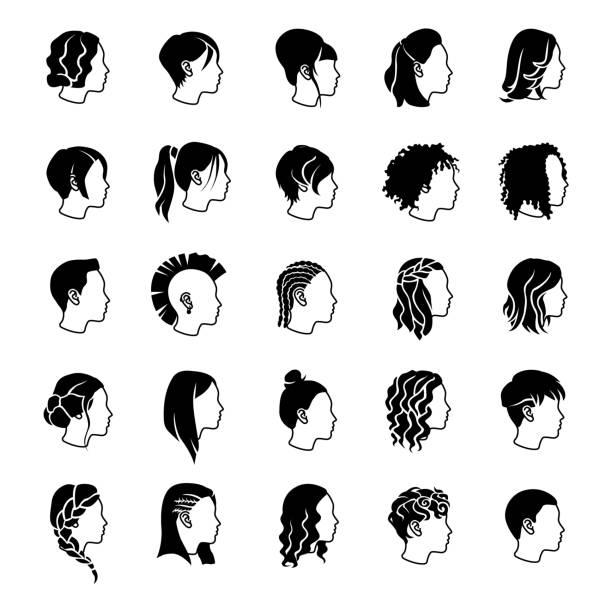 weibliche frisuren vektor-icons - brotzopf stock-grafiken, -clipart, -cartoons und -symbole