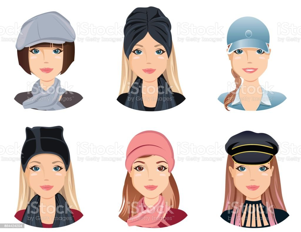 Excellent Female Hairstyles With Different Fashion Hats Stock Illustration Schematic Wiring Diagrams Amerangerunnerswayorg