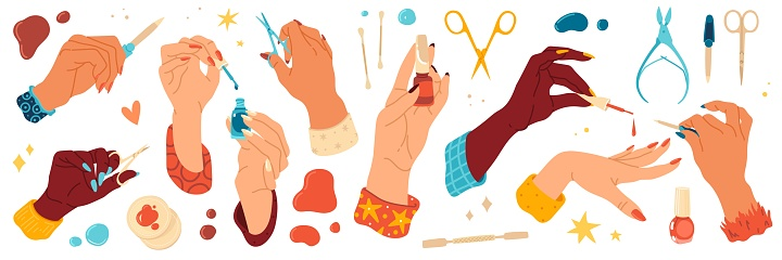 Female hand care. Nails salon, manicure tools and different angles hands with scissors and files, bright gel polishes and care products. Nail studio collection, vector cartoon set