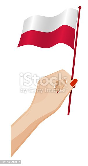 istock Female hand gently holds small flag of Poland. Holiday design element. Cartoon vector on white background 1276356815