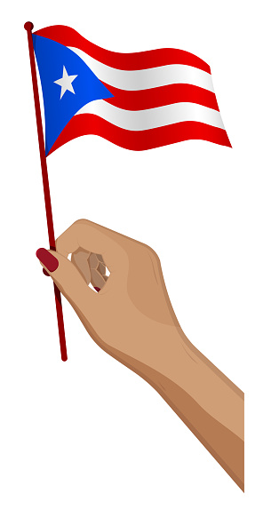 Female hand gently holds small flag of Puerto Rico. Holiday design element. Cartoon vector on white background