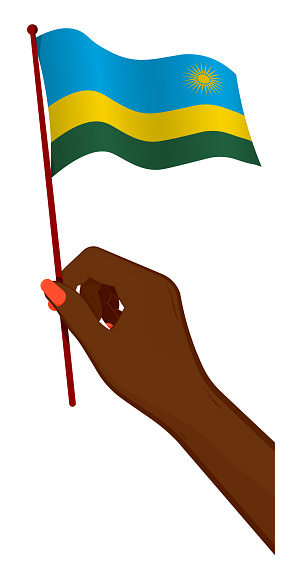 Female hand gently holds small flag of republic of Rwanda. Holiday design element. Cartoon vector on white background