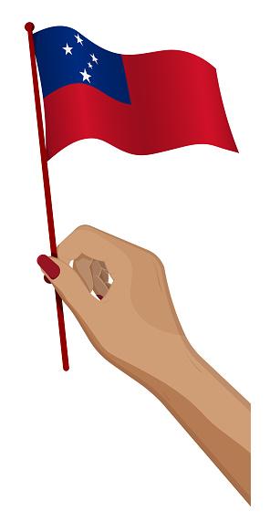 Female hand gently holds small Samoa flag. Holiday design element. Cartoon vector on white background