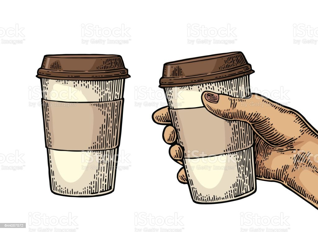 Female hand holding a disposable cup of coffee with cardboard holder and cap. vector art illustration