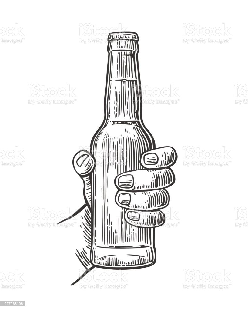 Female Hand Holding Open Bottle Beer Black Vintage Engraving Vector Illustration Royalty Free