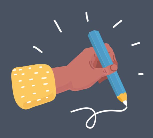 illustrazioni stock, clip art, cartoni animati e icone di tendenza di female hand holding pencil isolated on dark background. - mancino