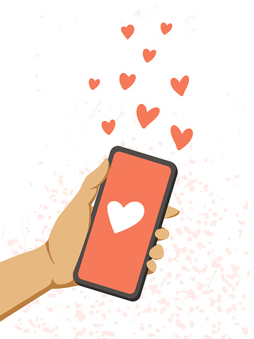 A female hand holds a phone and send red hearts.