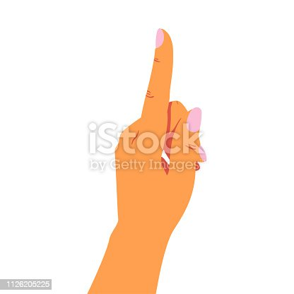female hand points up with her index finger at something. Vector illustration isolated from white background